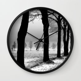 Snowy Day in the Country Wall Clock