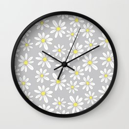 simple daisies on gray Wall Clock