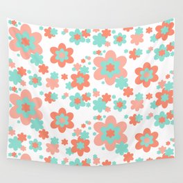 Coral and Mint Green Floral Wall Tapestry