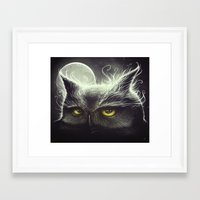 owl Framed Art Prints featuring Owl & The Moon by Dr. Lukas Brezak