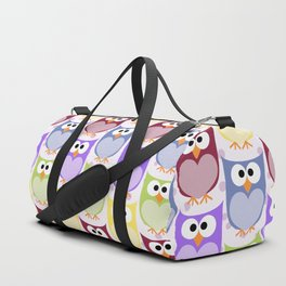 Colorful Owls - Green Blue Purple Yellow Duffle Bag