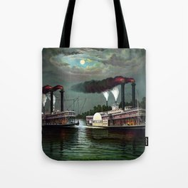 Race Of The Steamers Robert E. Lee and Natchez Tote Bag