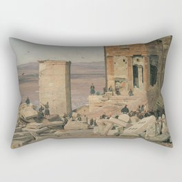 Martinus Rørbye - Greeks Working in the ruins of the Acropolis Rectangular Pillow