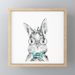 Bunny with Scarf and Bowtie Framed Mini Art Print