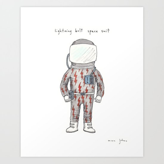 lightning bolt space suit Art Print