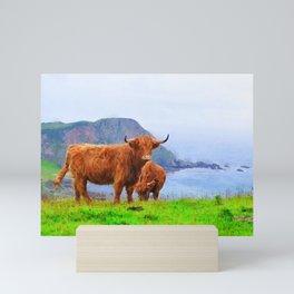 Highland cow watercolor painting #9 Mini Art Print