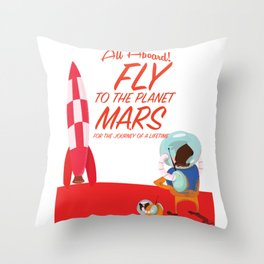 Fly to Mars! Throw Pillow