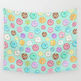 Scattered Rainbow Donuts on spotty mint - repeat pattern Wall Tapestry