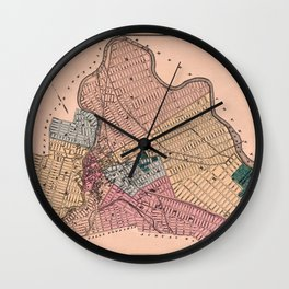 Map Of Paterson 1872 Wall Clock