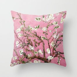 Vincent van Gogh Blossoming Almond Tree (Almond Blossoms) Pink Sky Throw Pillow
