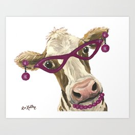 Cute Glasses Cow, Unique Cow Art Art Print
