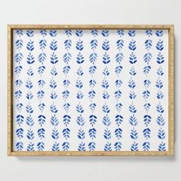Indigo Blossom - nature watercolour pattern Serving Tray
