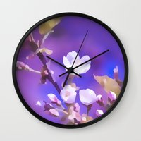 cherry blossoms Wall Clocks featuring CHERRY BLOSSOMS by VIAINA
