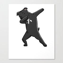 Funny Dabbing Staffordshire Bull Terrier Dog Dab Dance Canvas Print