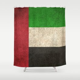 Old and Worn Distressed Vintage Flag of United Arab Emirates Shower Curtain
