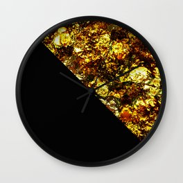 Golden Triangle - Abstract, geometric, Black And Gold Foil Artwork Wall Clock