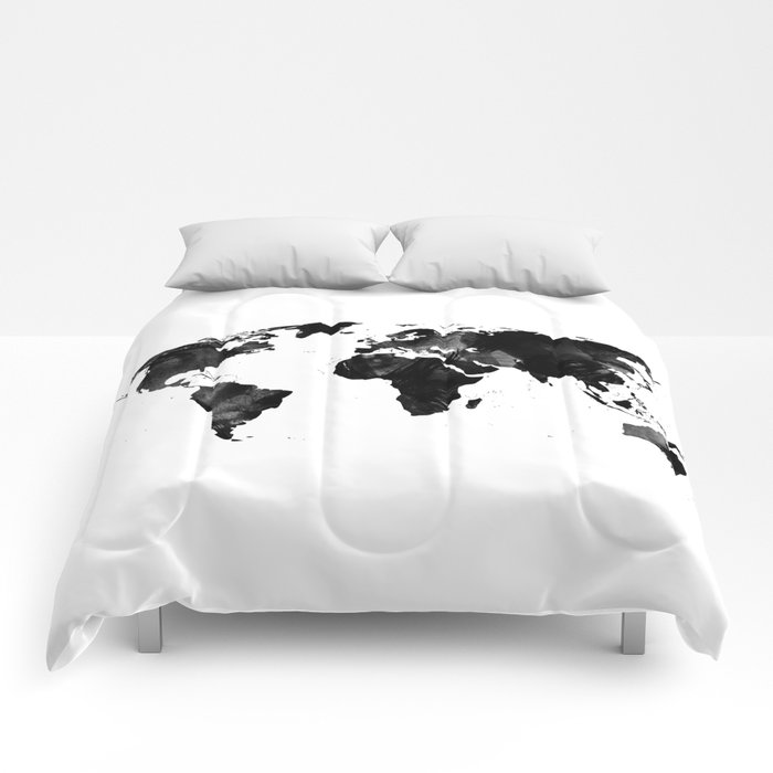 Black watercolor world map comforters by ummuhanuslu society6 black watercolor world map comforters gumiabroncs Choice Image