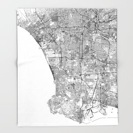 Los Angeles White Map Throw Blanket