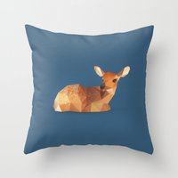 fawn Throw Pillows featuring Fawn. by Diana D'Achille