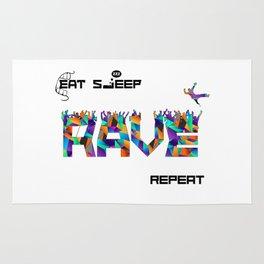 Eat Sleep RAVE Repeat Rug