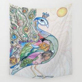 Planetary Peacock Wall Tapestry