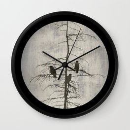 Full Moon and Crows Wall Clock