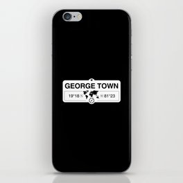 George Town Cayman Islands GPS Coordinates Map Artwork iPhone Skin
