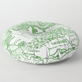 Map of Bohemia (green) Floor Pillow