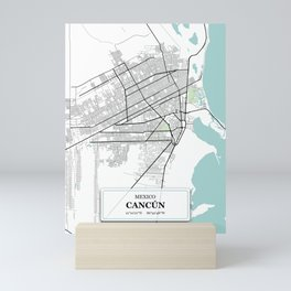 Cancun,Mexico City Map with GPS Coordinates Mini Art Print