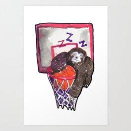 sloth playing basket Art Print