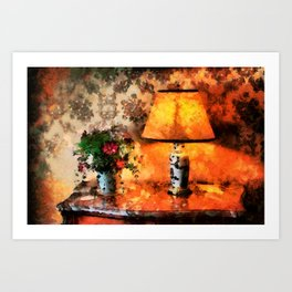 Flowers, vase and lamp in a French country cottage Art Print