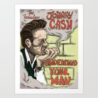 johnny cash Art Prints featuring Johnny Cash by Jesse Kidd's Realm of Madness
