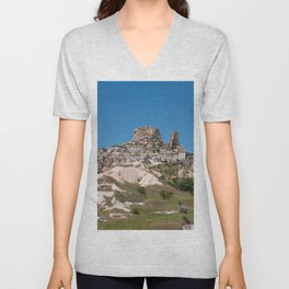 Uçhisar Castle, Cappadocia Mountain and Town Unisex V-Neck