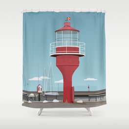 The lighthouse in the harbour in Skanor - light Shower Curtain
