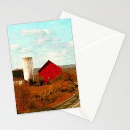 Red and White Barns and Fall Colors Stationery Cards