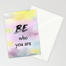 Be Who You Are (black on multi-colour background) Stationery Cards