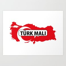 made in turkey country national flag map  Art Print