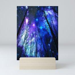 black trees purple blue space Mini Art Print