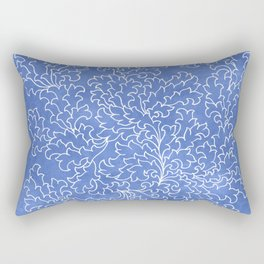 Blue Grunge Leaves Rectangular Pillow