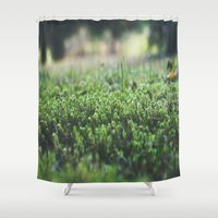 moss Shower Curtains featuring Moss by BV Imagery