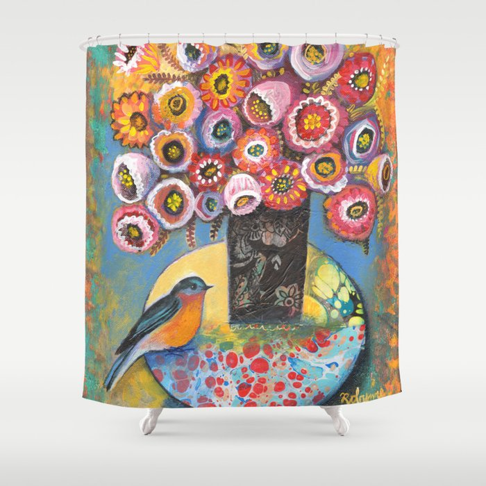 Bluebird with Bouquet by Robynne Shower Curtain
