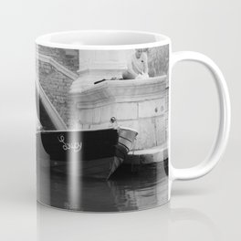 the boats sit quietly in the Venice Canals; black and white photography Coffee Mug