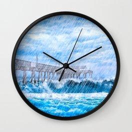 Storm Over The Sea - Tybee Island Pier Wall Clock
