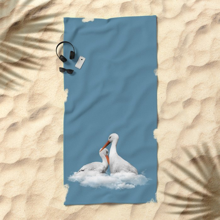 STORKS ON CLOUDS (animals love) Beach Towel