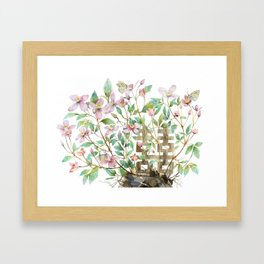 Clematis and Happiness in Marriage Symbol in a Nest Framed Art Print