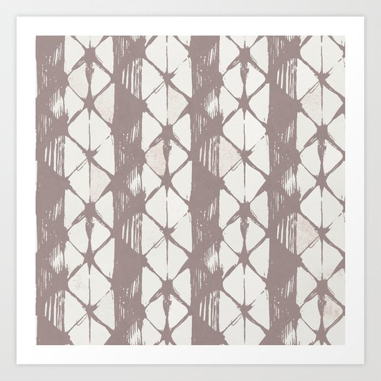 Simply Braided Chevron Red Earth on Lunar Gray Art Print