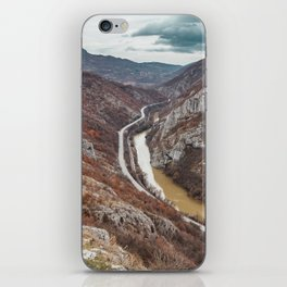Beautiful picture of the canyon in Serbia, with river and the highway in the middle iPhone Skin