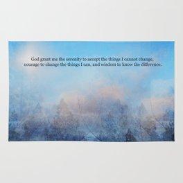 Serenity Prayer Sky and Trees Abstract Rug
