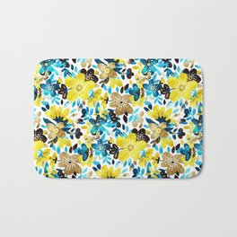 Happy Yellow Flower Collage Bath Mat