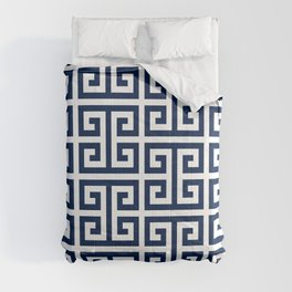 Dark Navy Blue and White Greek Key Pattern Comforters